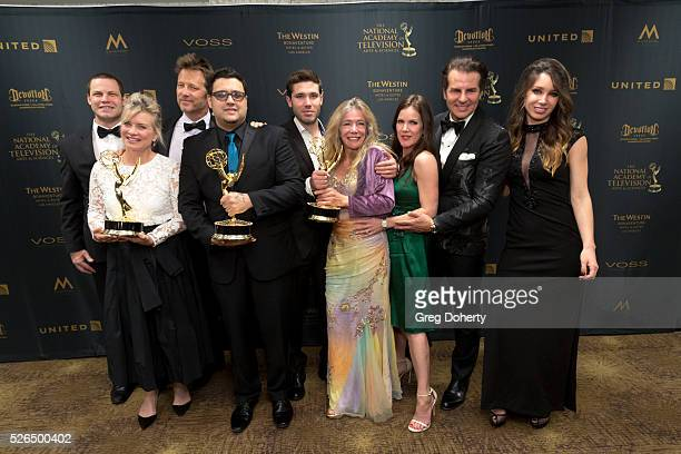 The producers from The Emmy Winning Digital Daytime Drama Series The Bay in the press room at The National Academy of Television Arts Sciences held...