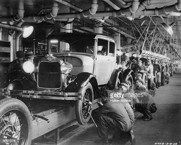 The production line at a Ford motor factory in Michigan USA