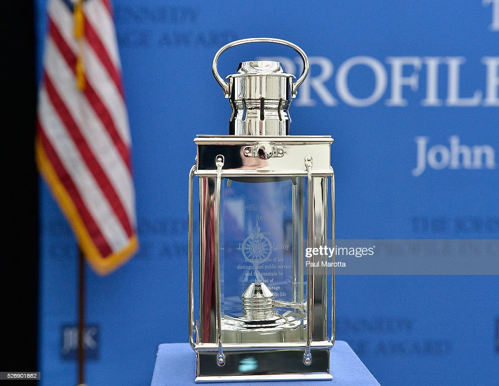 The Profile in Courage Award lantern presented to Connecticut Governor <a gi-track='captionPersonalityLinkClicked' href=/galleries/search?phrase=Dannel+Malloy&family=editorial&specificpeople=7234470 ng-click='$event.stopPropagation()'>Dannel Malloy</a> (D) at the 2016 John F. Kennedy Profile in Courage Award Ceremony at The John F. Kennedy Presidential Library And Museum on May 1, 2016 in Boston, Massachusetts. In 2015 following the Paris terrorist attacks, Governor Malloy defended the U.S. resettlement of Syrian refugees and personally welcomed a family of Syrian refugees to New Haven, Ct. after they had been turned away by the state of Indiana.