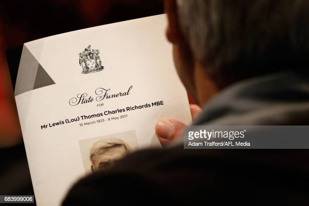 The program is seen during the former Collingwood legend Lou Richards state funeral at St Paul's Cathedral on May 17 2017 in Melbourne Australia