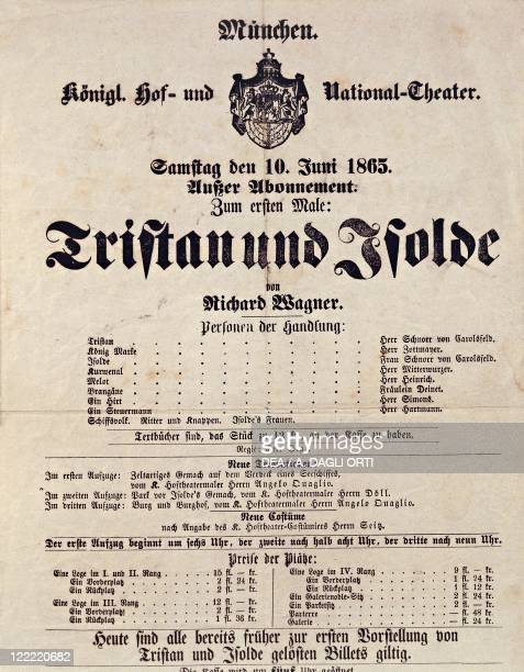 The programme for the premiere of Richard Wagner's 'Tristan und Isolde' at the National Theatre in Munich on 10 June 1865