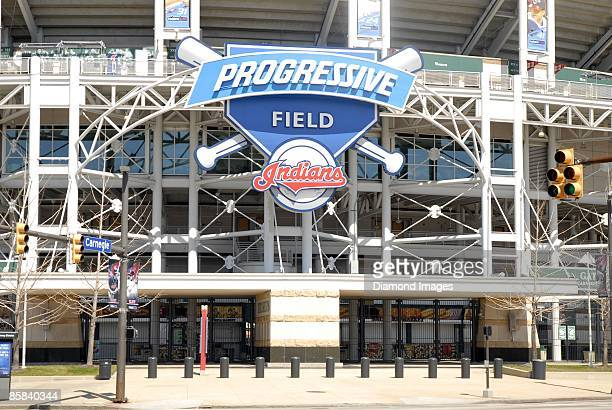 The Progressive Field marquee on Sunday April 5 2009 in Cleveland Ohio
