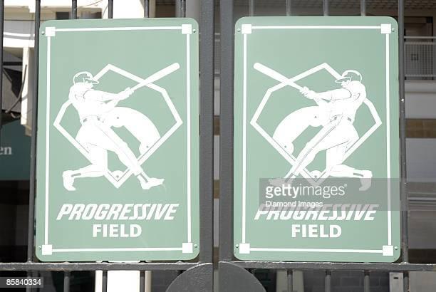 The Progressive Field signage on Sunday April 5 2009 in Cleveland Ohio