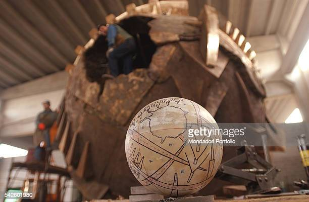 The project for the Grande Sfera a work by Italian sculptor Arnaldo Pomodoro being created for the Exhibition in the PalaisRoyal gardens in Paris...