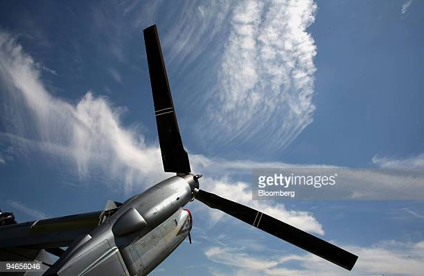 The propellors of a V22 Bell Boeing Osprey are seen at Farnborough International Air Show in Farnborough UK Monday July 17 2006