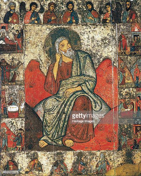 The Prophet Elijah in the Wilderness with Scenes from His Life and Deesis 13th first third of 14th century Russian icon painting Pskov School Found...
