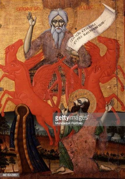 The Prophet Elijah on a Chariot of Fire by Unknown Artist from Berat School tempera on wood Albania Tirana Institute for Cultural Monuments Icon...