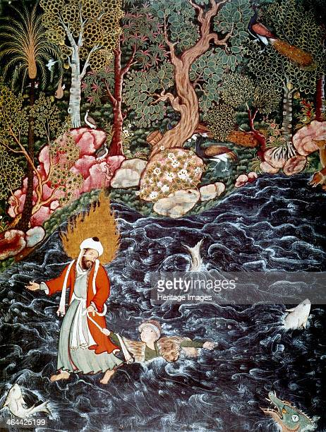The prophet Elijah rescuing Prince Nur adDahr 15621577 A scene from the Hamzanama Found in the collection of the British Museum London