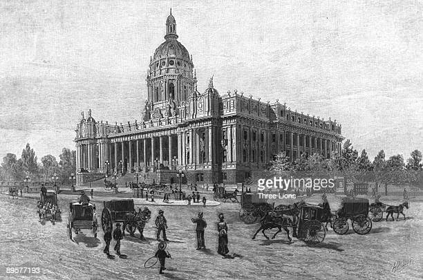 The proposed design for Parliament House Melbourne Australia featuring a dome which was never built circa 1875 Built in stages between 1856 and 1929...
