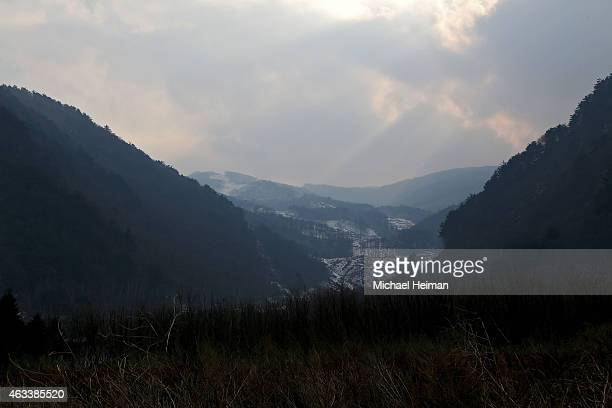 The proposed site of the Jeongseon Alpine Centre is seen on February 10 2015 located in the mountain cluster of Pyeongchang South Korea The region...