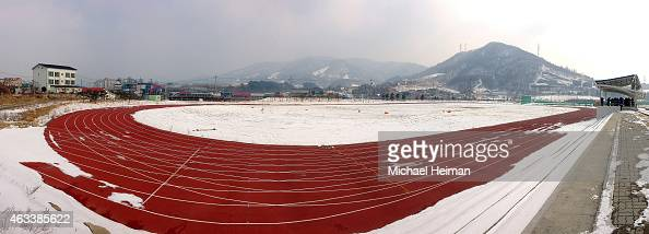 The proposed site of the Olympic Stadium is seen on February 10 2015 located in the mountain cluster of Pyeongchang South Korea The region located in...