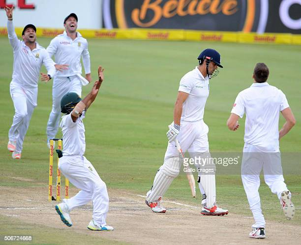 The Proteas celebrate the wicket of Alastair Cook of England during day 4 of the 4th Test match between South Africa and England at SuperSport...