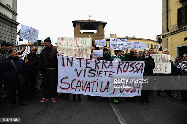 The protest of the banks depositors who lost their savings because of the bankssaving Government Decree manifest against the Italian Prime Minister...