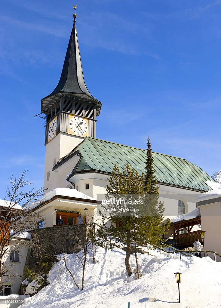 The Protestant Church in Arosa where Laura Bechtolsheimer and Mark Tomlinson married on March 2, 2013 in Arosa, Switzerland.