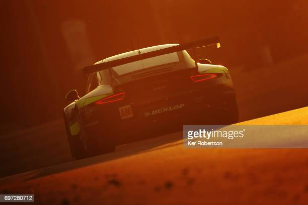 the Proton Competition Porsche of Stephane Lemeret Klaus Bachler and Khaled Al Qubaisi drives during the Le Mans 24 Hours race at the Circuit de la...