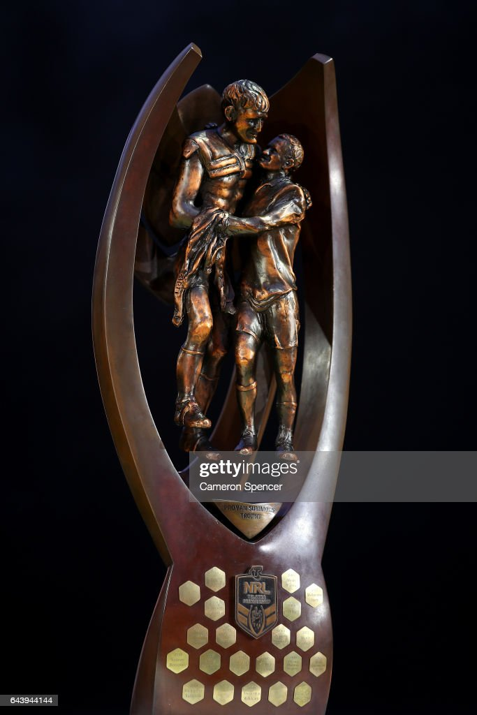 The Provan Summons Trophy is seen on stage during the 2017 NRL Season Launch at Martin Place on February 23, 2017 in Sydney, Australia.