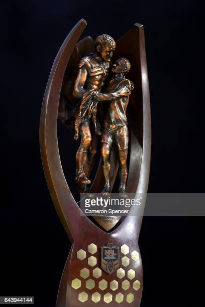 The Provan Summons Trophy is seen on stage during the 2017 NRL Season Launch at Martin Place on February 23 2017 in Sydney Australia