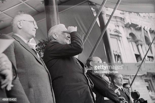 The provisional Head of State of Italy Enrico De Nicola the Minister of Foreign Affairs of the Italian Republic Pietro Nenni and the President of the...