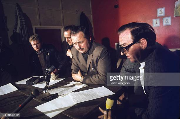 The Provisional IRA hold a press conference to lay out terms for a truce and engagement with the British government Londonderry Northern Ireland...