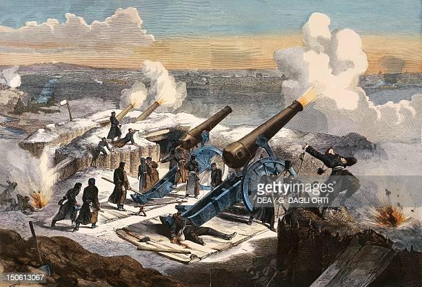 The Prussian artillery bombard Paris FrancoPrussian War France 19th century