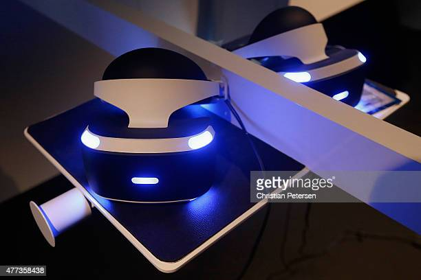 The PS4 virtual reality 'Project Morpheus' is displayed during the Annual Gaming Industry Conference E3 at the Los Angeles Convention Center on June...