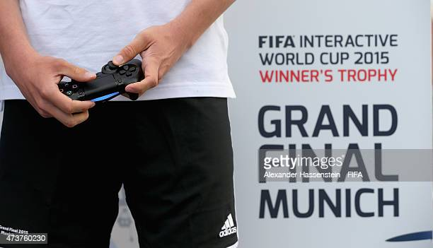 The PS4 wireless controller is pictured during the draw for the finale for FIFA Interactive World Cup at Hotel Bayrischer Hof on May 17 2015 in...