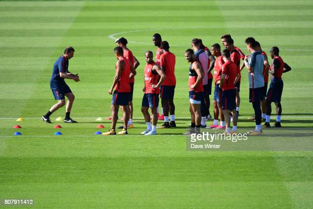 The PSG squad minus many of their internationals during the first preseason training session of Paris SaintGermain on July 4 2017 in Paris France