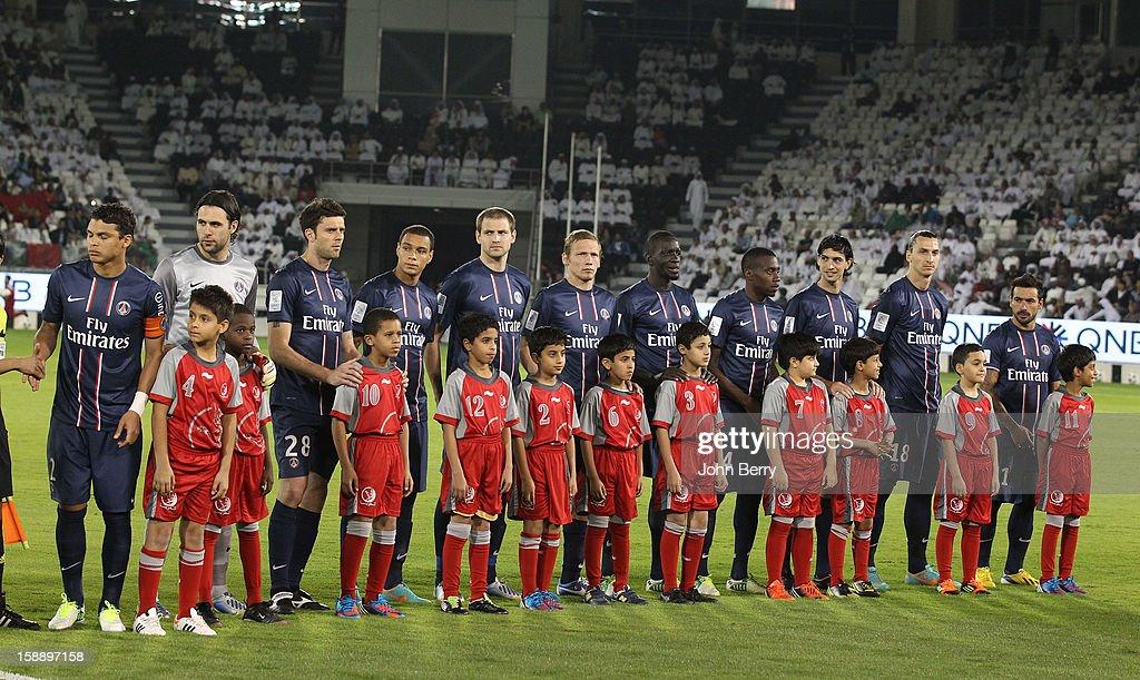 The PSG team line up ahead of the friendly match between Paris Saint-Germain FC and Lekhwiya Sports Club at the Al-Sadd Sports Club stadium on January 2, 2013 in Doha, Qatar.