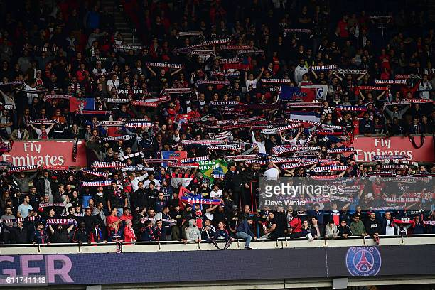 The PSG Ultras group of supportersduring the French Ligue 1 match between Paris SaintGermain and FC Girondins de Bordeaux at Parc des Princes on...