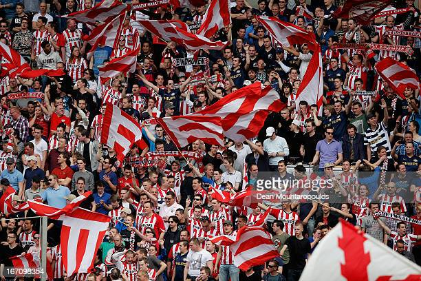 The PSV fans show their support during the Eredivisie match between PSV Eindhoven and Ajax Amsterdam at Philips Stadion on April 14 2013 in Eindhoven...