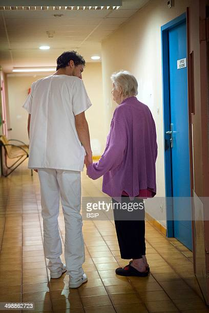 The psychiatric unit of a hospital in Haute Savoie France A nurse chats to a patient