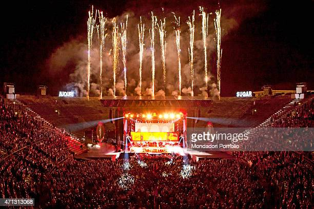 The public and the stage of the Verona Arena during a concert of Zucchero famous Italian singer who has celebrated his birthday with 12000 fans...