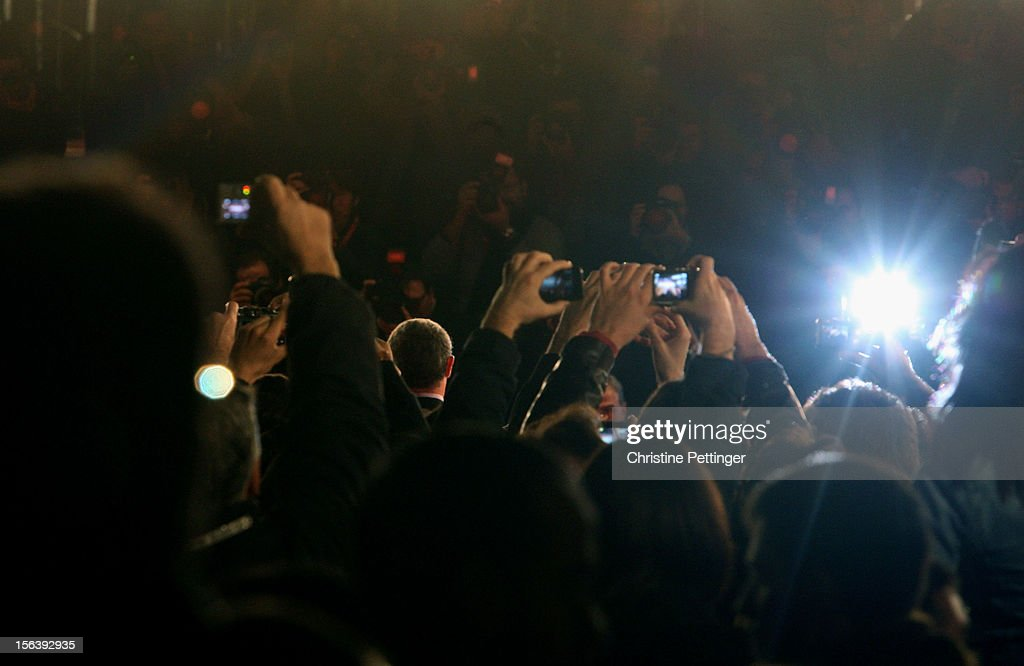 The public cheers for <a gi-track='captionPersonalityLinkClicked' href=/galleries/search?phrase=Sylvester+Stallone&family=editorial&specificpeople=202604 ng-click='$event.stopPropagation()'>Sylvester Stallone</a> while he attends the 'Bullets To The Head' Premiere during the 7th Rome Film Festival at the Auditorium Parco Della Musica on November 14, 2012 in Rome, Italy.
