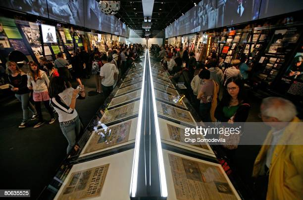 The public gets its first look at the 'News History' section of The Newseum during its grand opening April 11 2008 in Washington DC The...