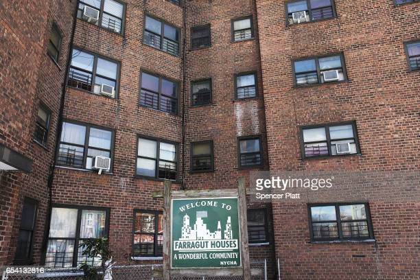 The public housing project the arragut Houses stand in Brooklyn on March 16 2017 in New York CityThe budget blueprint President Donald Trump released...