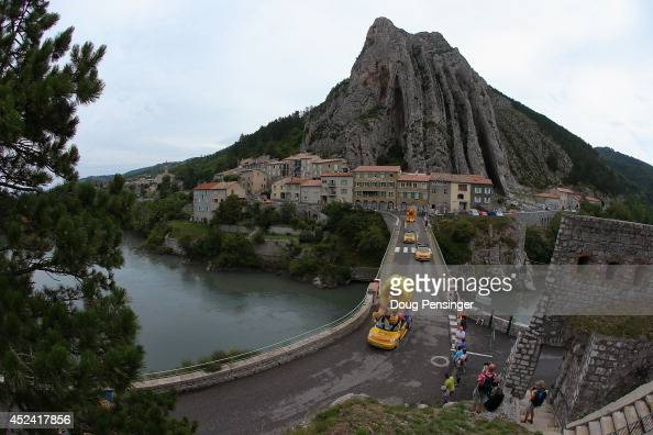 The publicity caravan travels the course prior to the fifteenth stage of the 2014 Tour de France a 222km stage between Tallard and Nimes on July 20...