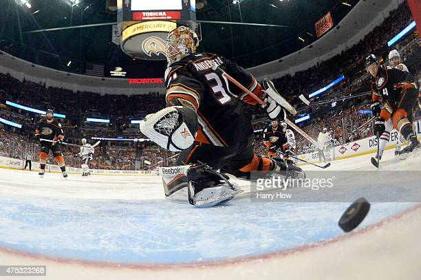 The puck gets past Frederik Andersen of the Anaheim Ducks as Brandon Saad of the Chicago Blackhawks scores in the second period in Game Seven of the...