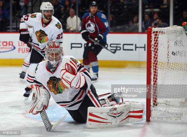 The puck goes in the net as goalie Antti Raanta of the Chicago Blackhawks is unable to make a save on a goal by Matt Duchene of the Colorado...