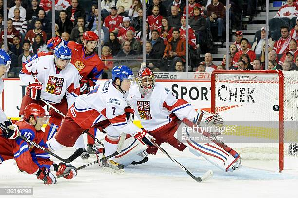 The puck goes wide past Petr Mrazek of Team Czech Republic on a shot by Pavel Kulikov of Team Russia during the 2012 World Junior Hockey Championship...