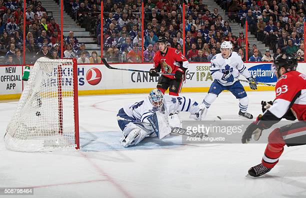 The puck hits the back of the net behind James Reimer of the Toronto Maple Leafs on a first period goal by Mika Zibanejad of the Ottawa Senators with...