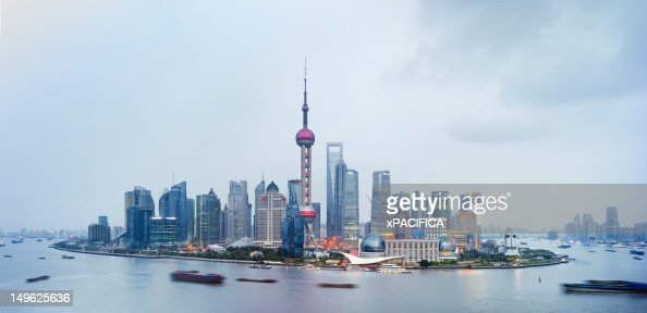 The Pudong Skyline in Shanghai China