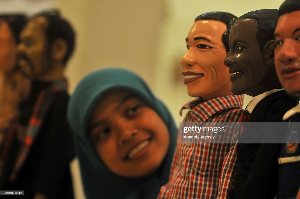 The puppet of new president of Indonesia Joko Widodo is exhibited at Traditional Performing Arts of Puppet Performance 2014 organized with the...