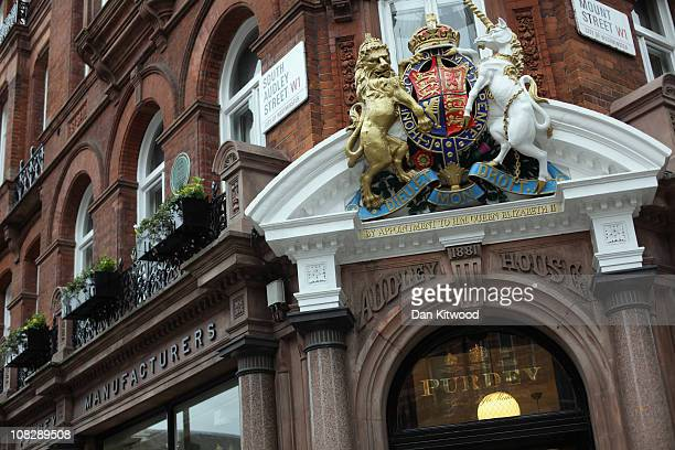 The Purdey Gun and Rifle name is displayed at their store in Mayfair on January 24 2011 in London England Despite the expected retail slump sales of...