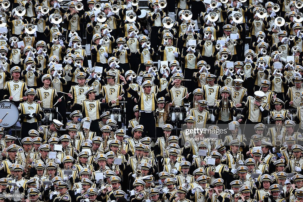 The Purdue Boilermakers band performs during the Heart of Dallas Bowl at Cotton Bowl on January 1, 2013 in Dallas, Texas.