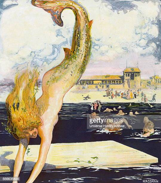 'The Pursuit' by artist Carl Hassman Illustration shows a mermaid diving into the water at a beach and several men swimming after her New York August...