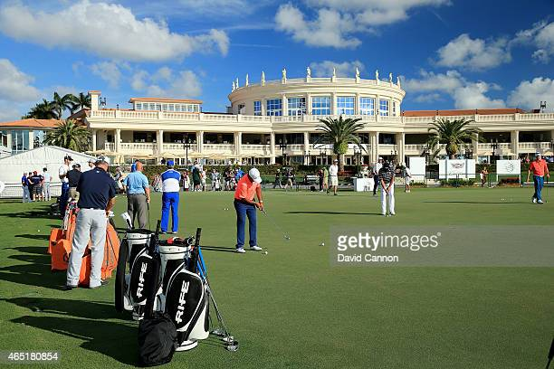 The putting green in front of the main resort building and clubhouse as a preview for the Cadillac Championship held on the Blue Monster Course at...