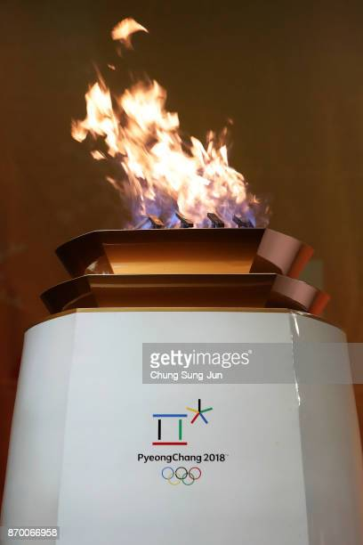 The PyeongChang 2018 Winter Olympics frame is seen during the PyeongChang 2018 Winter Olympic Games torch relay on November 4 2017 in Busan South...