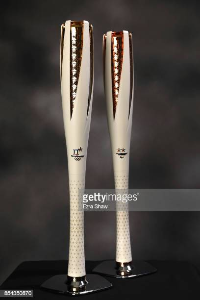 The PyeongChang Olympic and Paralympic torches are seen during the Team USA Media Summit ahead of the PyeongChang 2018 Olympic Winter Games on...