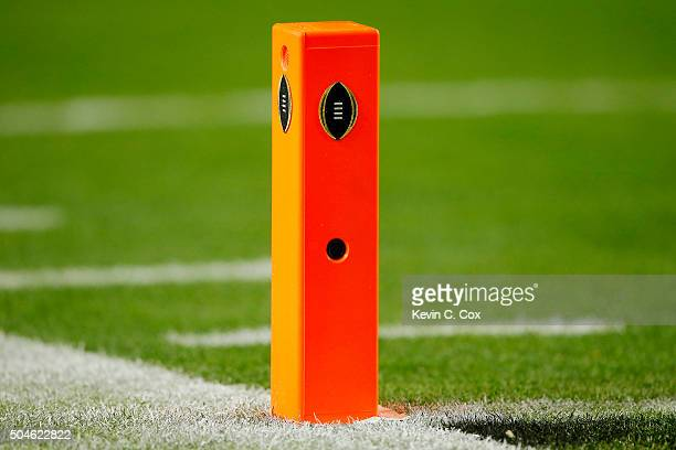 The pylon cam is seen during the 2016 College Football Playoff National Championship Game at University of Phoenix Stadium on January 11 2016 in...