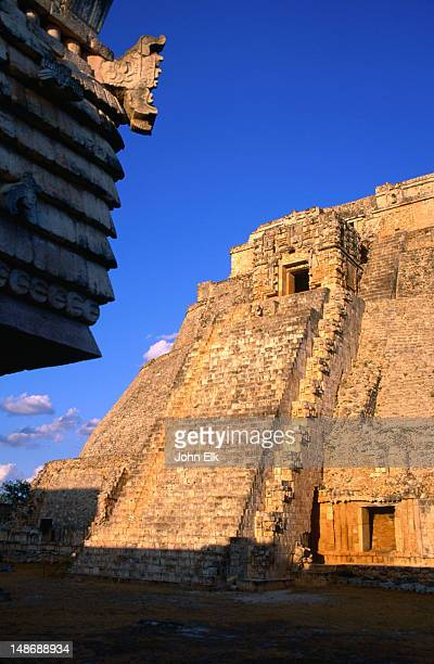 The Pyramid of the Magician (Piramide del Adivino) on the Mayan site at Uxmal, in the late afternoon sunlight.